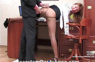 Sexy secretary in pantyhose xxx tube video