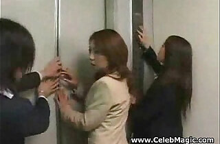 Asian girls in trouble in a lift gangbanged xxx tube video