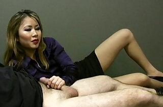 Lucky employee gets a handjob from lady boss xxx porn