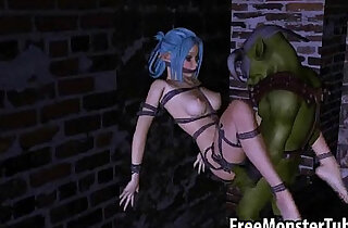 Tied up 3D elf babe is getting fucked really hard by an orc xxx tube video