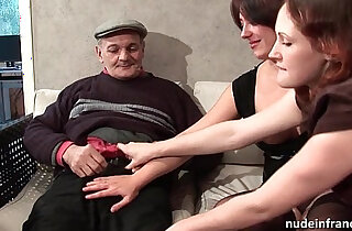 FFM Two french brunette sharing an old man cock of Papy Voyeur xxx tube video