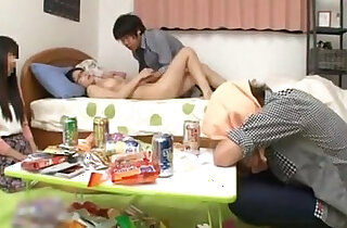 Japanese schoolgirl with perfect natural tits fucking a friend while her boyfriend sleep xxx tube video