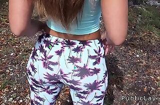 Latina babe in legging shaking booty in public xxx tube video