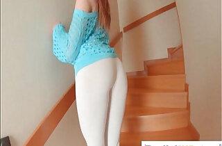 Brit redhead Samantha Bentley stretches ass with a glass dildo xxx tube video
