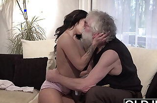 Old Young Sexy blonde russian Teen ass Fucked by old man on the couch she rides cock xxx tube video