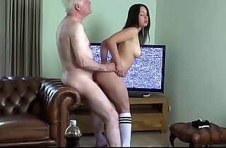 Young busty horny wife sucking fucking old hubby cock sucking cum in mouth xxx tube video