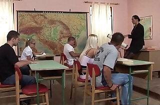 Teacher and classroom orgy Jessica Moore, Lisa Sparkle, Maddy, Mandy Bright xxx tube video