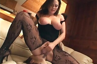 Cunnilingus with sexy busty babe in crotchless nylon xxx tube video