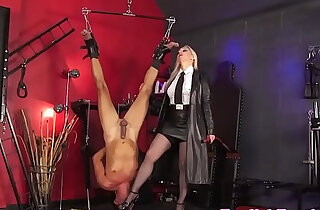Mistress dominates suspended sub with dildo xxx tube video