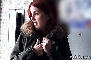 Spanish redhead amateur in public flashing titties xxx tube video