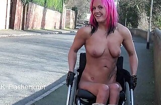 Exhibitionist wheelchair babe Leah Caprice public nudity and pussy flashing xxx tube video