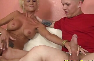 Tattooed granny tugging hard big cock xxx tube video