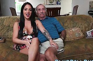 Stunning Latina gives grandpa a great blowjob