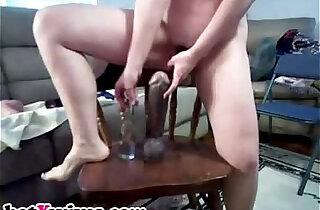 Horny wife rides a huge dildo xxx tube video
