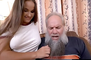 Grandpa with a grey beard fucking a curvy lesbian babe xxx tube video