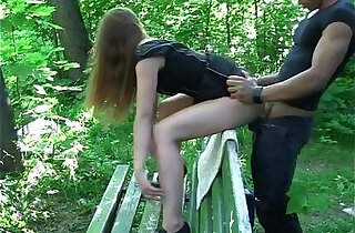 Teen sex on the bench in public place xxx tube video