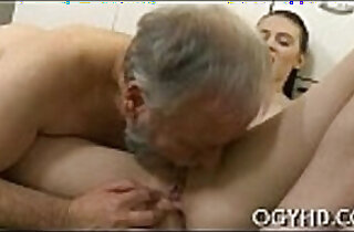 Youthful playgirl blows old dick xxx tube video