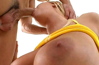 Sexy blonde amateur babe plays with nice perfect tits and gets team fucked by her naughty trainer xxx tube video