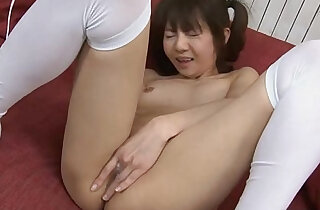 Precious Asian babe rubbing on her wet pussy hard xxx porn